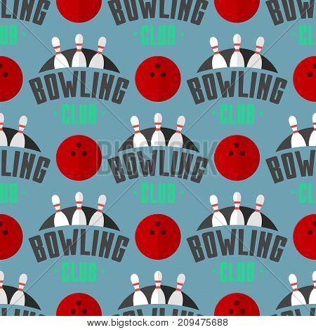 Vector bowling emblem seamless pattern background item design for sport league teams success equipment champion illustration. Tournament skittles activity goal game.