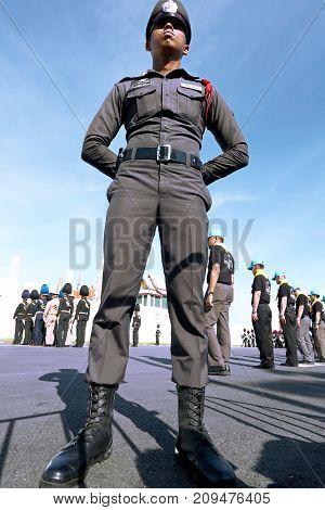 Bangkok-Thailand: October 15 2017 Police Thai in the funeral of King Bhumibol Adulyadej (King Rama 9) At Sanam Luang