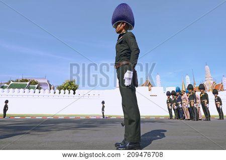 Bangkok-Thailand: October 15 2017 Royal Thai Army To prepare for attend the funeral of King Bhumibol Adulyadej (King Rama 9) At Sanam Luang