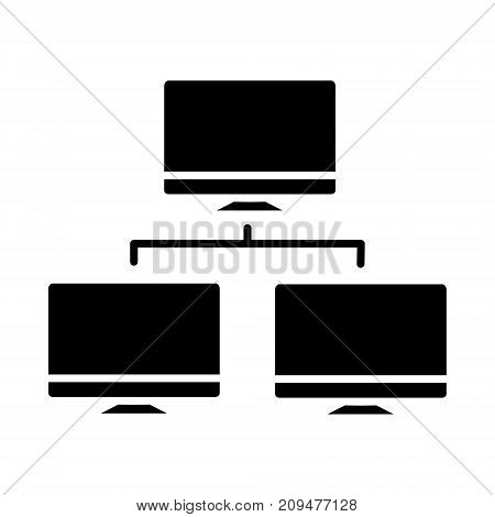 network monitor icon, illustration, vector sign on isolated background