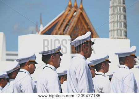 Bangkok-Thailand: October 15 2017 The Motion of Royal Thai Army to prepare for attend the funeral of King Bhumibol Adulyadej (King Rama 9) At Sanam Luang