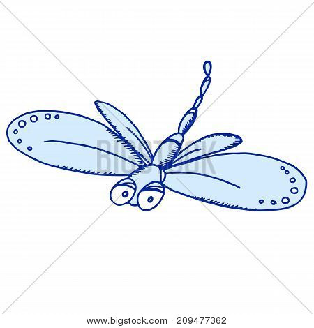 Dragonfly with light blue wings for kids prints, room, design, posters. Cartoon insects character. Hand drawn illustration.