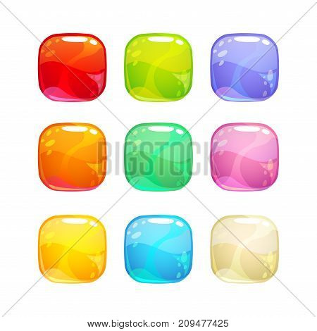 Colorful glossy jelly candies set. Isolated icons on white background.