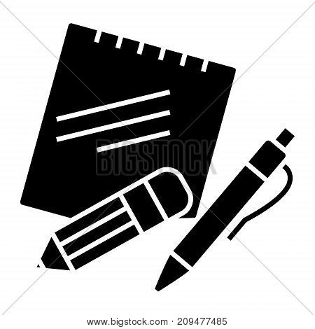 notes with pen and pencil icon, illustration, vector sign on isolated background