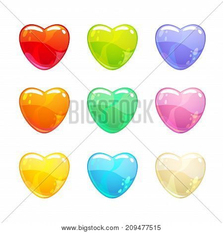 Cute glossy colorful hearts set. Isolated icons on white background.