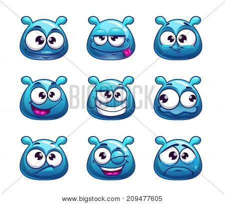 Funny cartoon blue jelly monster with different emotions. Vector icons, isolated on white background.