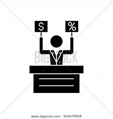offer - market - auction icon, illustration, vector sign on isolated background