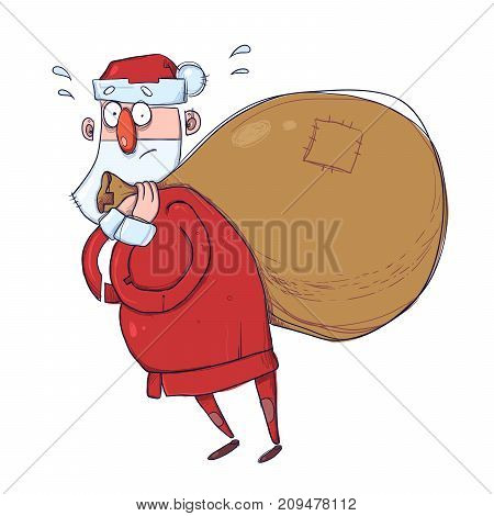 Cute cartoon Santa Claus with a heavy sack of gifts. Vector Illustration, isolated on white background.