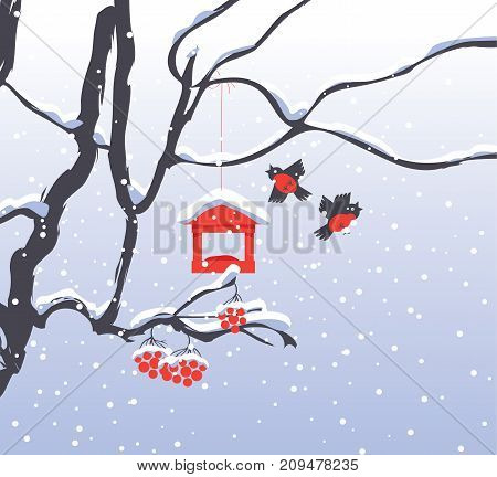 Vector winter landscape with snow-covered branches and red bunches of a Rowan tree bullfinches and a bird feeder in the snow in flat style