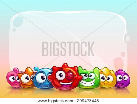 Funny vector childish banner with cute colorful jelly characters. Nice background with comic aliens and empty frame for your text.