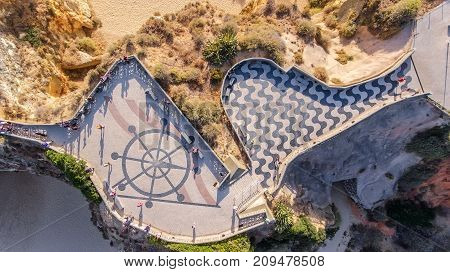 Aerial. Viewpoint of the Three Castles in Portimao praia de Rocha