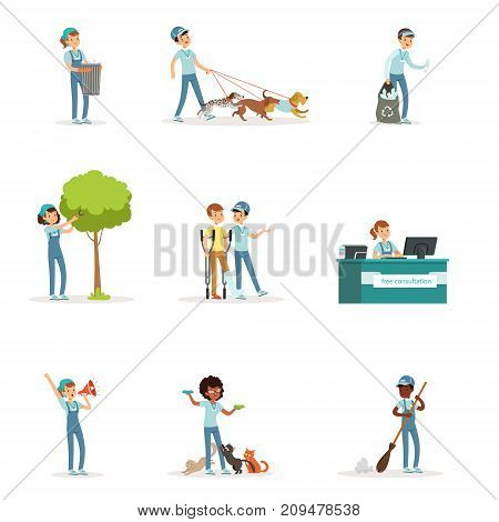 Set of young volunteers: caring of trees, cleaning garbage, helping animals, sick people. Social support activities. Cartoon character. Vector illustration in flat style isolated on white background.