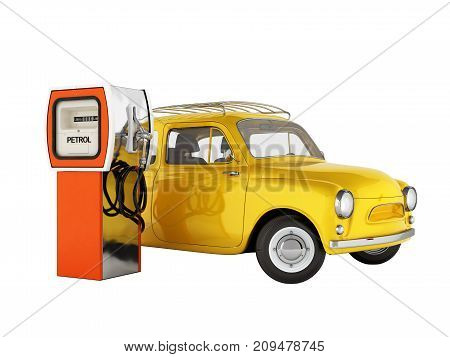 Retro Car Standing At The Gas Station Car Refueling Illustration On White Background Without Shadow