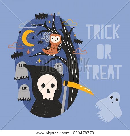 Halloween banner with Grim Reaper holding scythe, ghost, owl sitting on tree branch against graves on cemetery and starry night sky on background. Trick or treat. Cartoon festive vector illustration