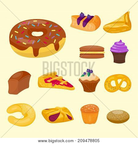 Cookie cakes tasty snack delicious chocolate homemade pastry biscuit illustration. Vector traditional gourmet sweet dessert bakery food confectionery fastfood.