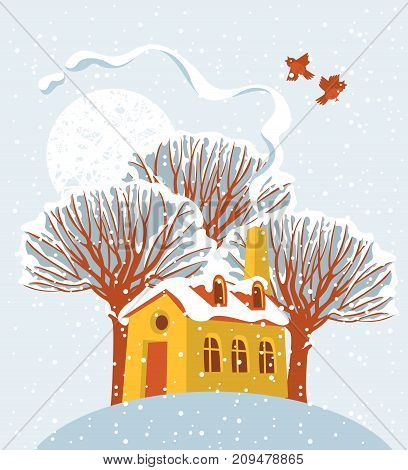 Vector winter landscape with sun and birds with snow-covered trees and a cheerful yellow house on the hill in flat style