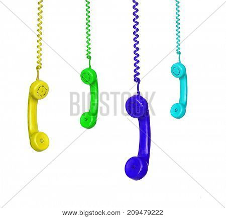Four color phones hanging isolated on a white background with a reflection