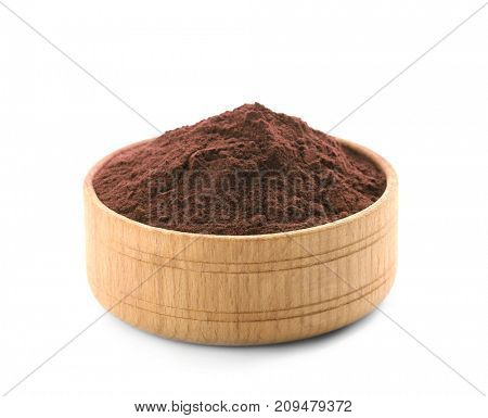 Acai powder in wooden bowl, isolated on white