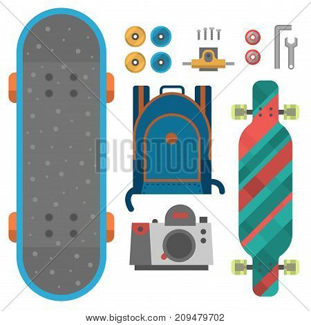 Skateboard fingerboard icon vector sport equipment. Fun modern print skating transportation decorative speed freestyle leisure. Skateboarding extreme.