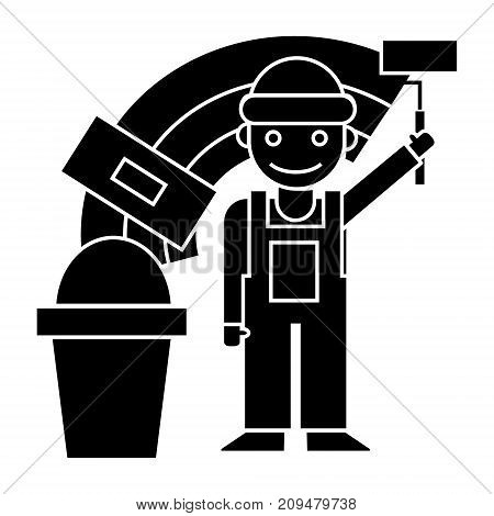 painter - builder icon, illustration, vector sign on isolated background