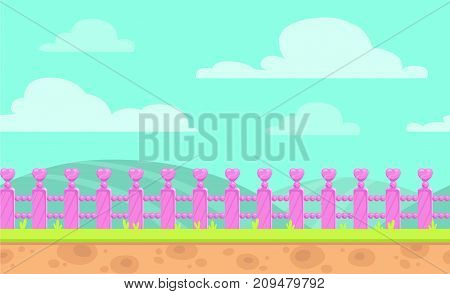 Seamless cartoon vector landscape with pink fence, grass, hills and clouds on the sky. Nature background for game design.