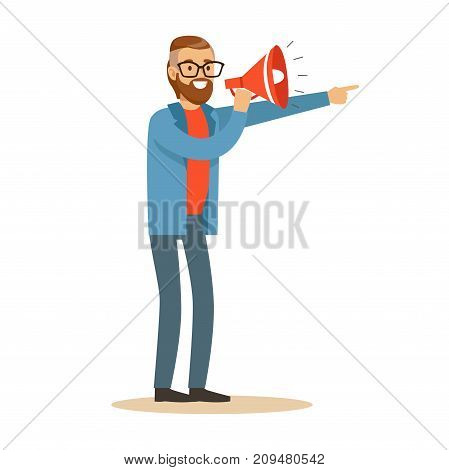 Smiling man with loudspeaker controls filming process in television studio. Film crew member. Cartoon male character. TV people at work. Flat vector illustration isolated on white background.