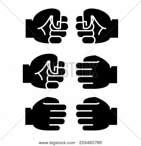 fist bump icon, illustration, vector sign on isolated background