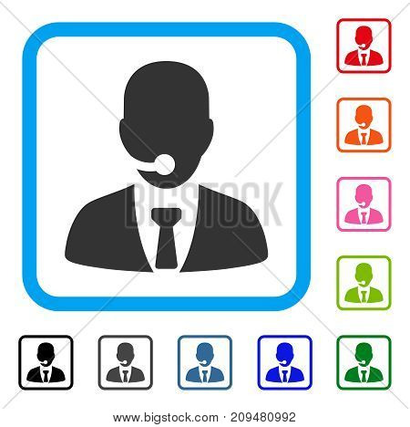 Call Center Manager icon. Flat gray iconic symbol in a light blue rounded rectangular frame. Black, gray, green, blue, red, orange color variants of Call Center Manager vector.