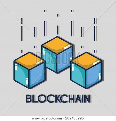 blockchain cubes digital security technology vector illustration