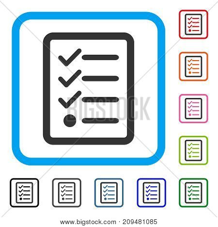 Checklist icon. Flat gray iconic symbol inside a light blue rounded squared frame. Black, gray, green, blue, red, orange color variants of Checklist vector. Designed for web and software interfaces.