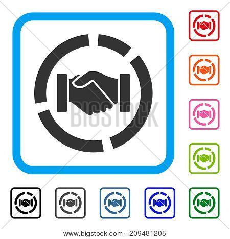 Cooperation Handshake Diagram icon. Flat grey iconic symbol in a light blue rounded rectangle. Black, gray, green, blue, red, orange color variants of Cooperation Handshake Diagram vector.