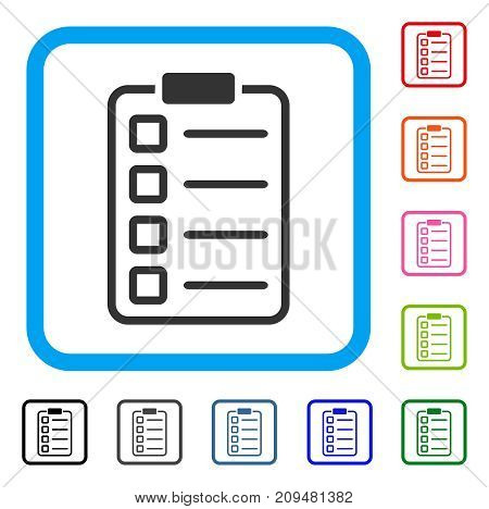 Examination List icon. Flat grey pictogram symbol in a light blue rounded rectangle. Black, gray, green, blue, red, orange color additional versions of Examination List vector.