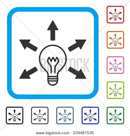 Idea Bulb icon. Flat gray pictogram symbol in a light blue rounded square. Black, gray, green, blue, red, orange color additional versions of Idea Bulb vector. Designed for web and app user interface.