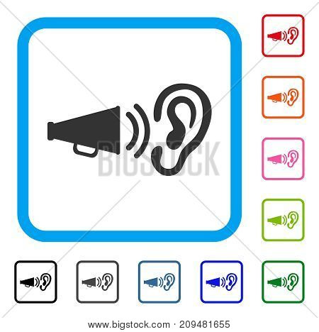Listen Megaphone News icon. Flat grey pictogram symbol in a light blue rounded squared frame. Black, gray, green, blue, red, orange color additional versions of Listen Megaphone News vector.