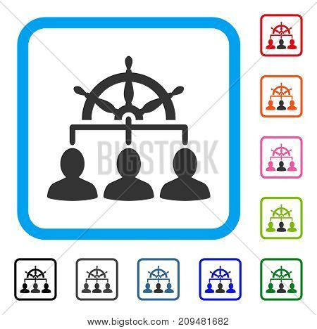 Management Steering Wheel icon. Flat gray pictogram symbol in a light blue rounded rectangle. Black, gray, green, blue, red, orange color versions of Management Steering Wheel vector.