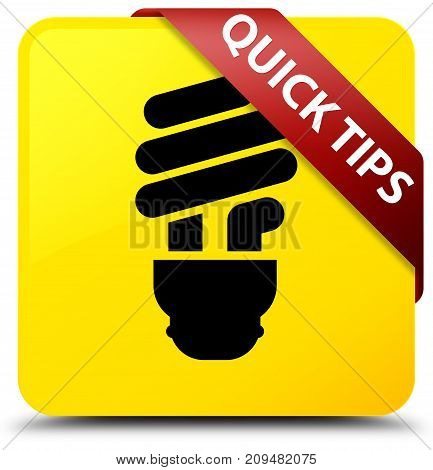 Quick Tips (bulb Icon) Yellow Square Button Red Ribbon In Corner