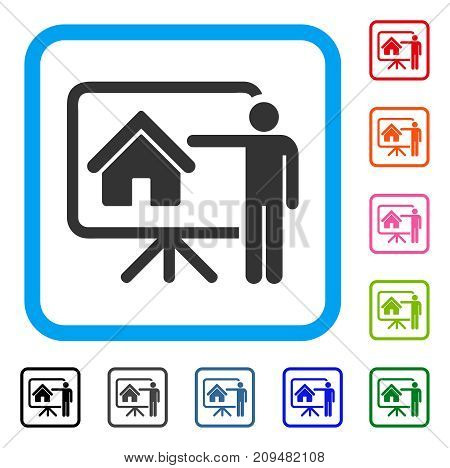 Realtor Presentation Board icon. Flat grey iconic symbol in a light blue rounded rectangle. Black, gray, green, blue, red, orange color versions of Realtor Presentation Board vector.