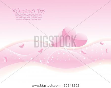 abstract pink wave background with romantic hearts
