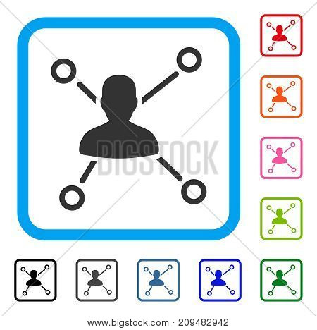 User Relations icon. Flat gray pictogram symbol inside a light blue rounded rectangular frame. Black, gray, green, blue, red, orange color versions of User Relations vector.