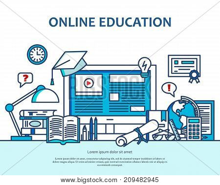Online education concept with learning and teaching icons. School vector background with computer. Banner for website or magazne. Header, poster, flyer backdrop. Cartoon design
