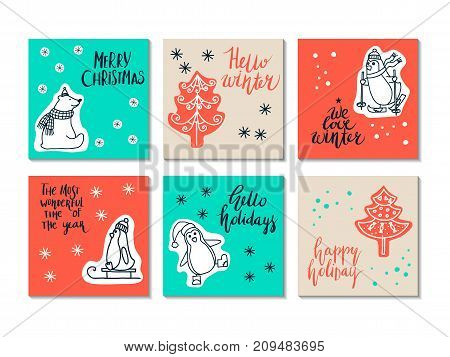 vector set of Christmas cards for greetings and invitations
