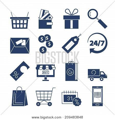 Shopping icons vector set isolated. Purchase and delivery collection. Online or offline shopping sign. Money sale discount gift tag card wallet delivery simbols collection. Black and white style