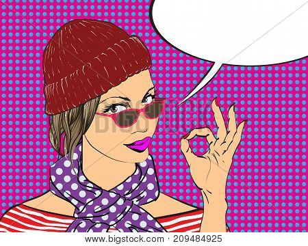 Beauty Girl With Speech Bubble.pop Art Girl. The Girl In A Hat And Scarf.