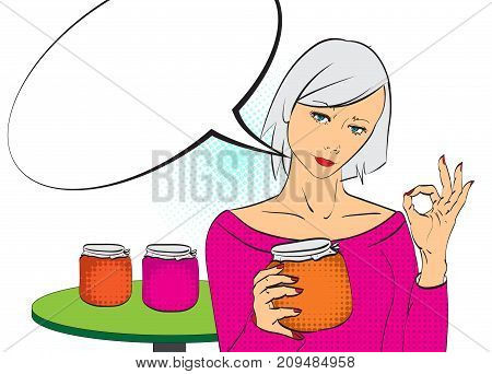 Beauty Girl With Speech Bubble.pop Art Girl. Girl With A Jam Jar.