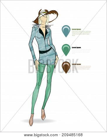 Autumn-winter 2018. Beautiful Girl In Breeches And A Hat On A White Background. Vector Illustration.