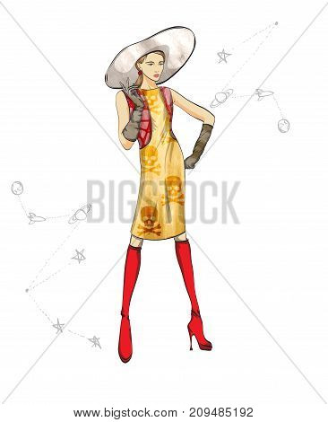 Autumn-winter 2018. Lovely Girl In A Dress And Hat On A White Background With An Abstract Pattern. V