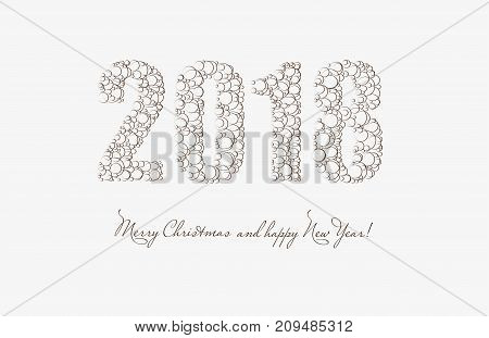2018 Merry Christmas And Happy New Year. Vector Card.