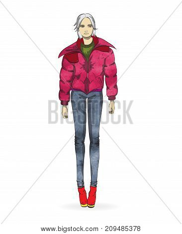 Autumn-winter 2018. An Elegant Girl In A Casual Style Jacket On A White Background. Vector Illustrat