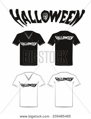 Halloween holiday t-shirt design. Vector illustration on a white background .