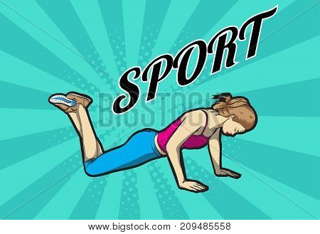 A Young Athlete Performs Exercises. Pop Art Retro Vector Illustration. Sport And A Healthy Lifestyle